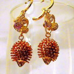 Hedgehog Dangle Earrings in Rose Gold Tone