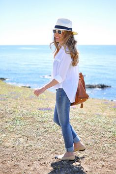 Cuffed jeans and flats.