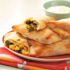 Spinach & Black Bean Egg Rolls Recipe from Taste of Home -- shared by Melanie Scott of Amarillo, Texas  #healthy  #quick  #diabetic_friendly