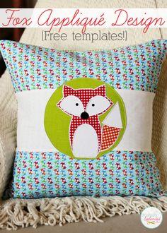 Adorable fox applique design with free downloadable templates