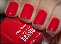 Sally Hansen Complete Salon - Kook a Mango. Fiery coral? Corally red? Either way, a beautiful bright red coral cream color.