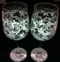 Wedding Swirl Wine Glass Set by thepaintedflower on Etsy