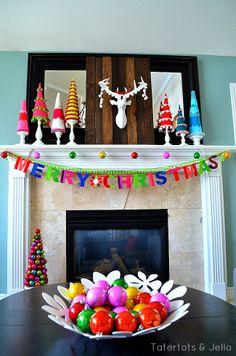 decor design, design homes, christmas holidays, color christma, christma idea, christma holiday, holiday mantel, christmas mantles, decor idea