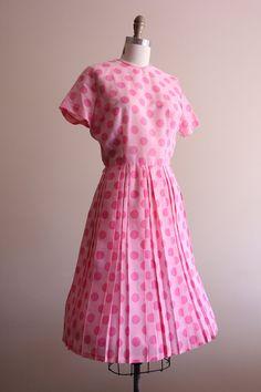 #vintage 1950s pink polka dot day dress