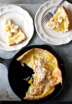 brown butter coconut dutch baby with bananas & pineapple.