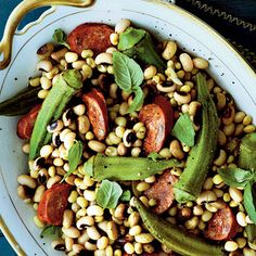 Field Peas with Okra and Andouille Sausage | Smoky andouille sausage brings this flavorful salad together. #Thanksgiving