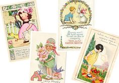Vintage Easter Cards Digital Instant Download by sssstudio on Etsy