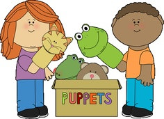 Kids playing with puppets from MyCuteGraphics school clip, graphic, clipart, clip art, school kids, kids playing, art kids, afscheid school, black