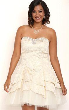 Deb Shops Plus Size Strapless Brocade Print Short Tulip Homecoming Dress $95.00