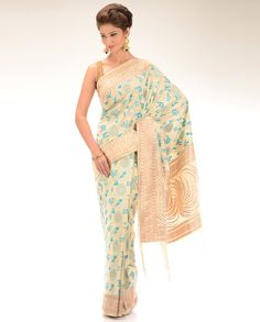 Cream sari with Blue Hindi Caligraphy Prints - Exclusively In