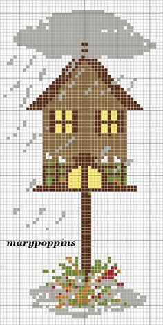 Here is a cute bird house cross stitch pattern
