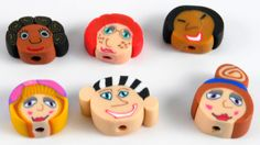 Polymer Clay Face Beads by DeidreNabors on Etsy, $4.99