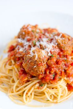 Spaghetti and Meatballs (ricotta cheese in the meatballs, so good)
