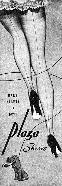 My mom used to wear stockings with seams my dad thought they were Sexy.  Make beauty a duty! #vintage #stockings #hosiery #ads #1950s
