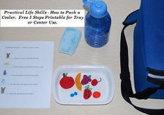 How to Pack a Cooler - Teaching Children to follow 5 Step Instructions:  Free printable with visual aids for centers or home use