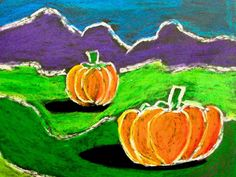 4th grade landscape art lessons, art idea, pumpkin, art projects 4th grade, oil pastels, dark shadows, fall art projects, third grade, 4th grade art