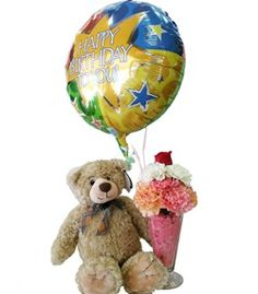 The perfect birthday gift for a child: Ice Cream Floral Sundae and Teddy Bear by Cactus Flower - Deluxe $49.99