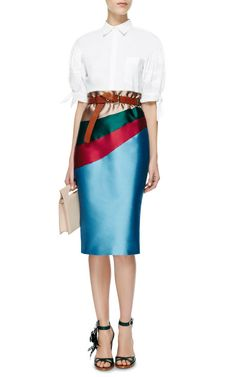 Silk-Mikado Intarsia Midi Skirt by Aquilano.Rimondi - Moda Operandi