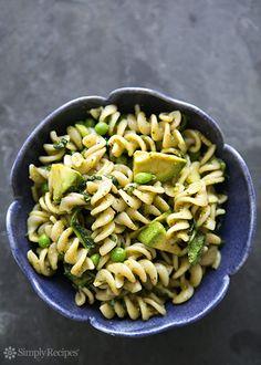 Pesto Pasta with Spinach and Avocado on Simply Recipes