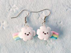 clouds, kawaii cloud, cloud earring, rainbows, jewelri diy, cloud rainbow, rainbow earring, earrings