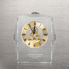 Executive Crystal Skeleton Clock - Gold at Baudville.com
