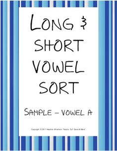 FREE long/short A vowel picture sort