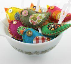 party favors, bowl, craft, gifts, felt birds, bird ornament, diy, gift idea, ornaments