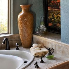 Tuscan Style Bath  Love the faucets etc.