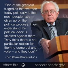 Don't lose our right to vote, that is what the corporations want..