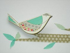 Bird 2 Washi Tape Brooch by kotoridesign on Etsy