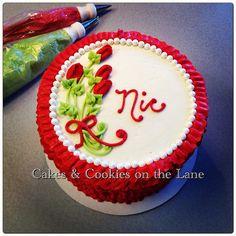 Red ruffle birthday cake