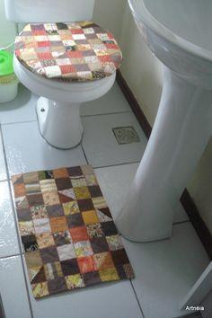 jogo de banheiro em patchwork