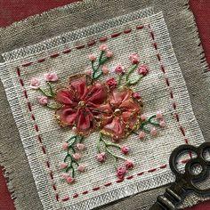 I ❤ ribbon embroidery . . . Folded Gathered Flowers ~By shelleyswanland