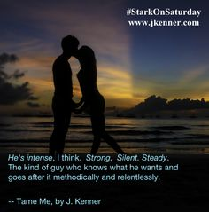He's intense, I think.  Strong.  Silent. Steady. The kind of guy who knows what he wants and goes after it methodically and relentlessly. -- Tame Me by J. Kenner