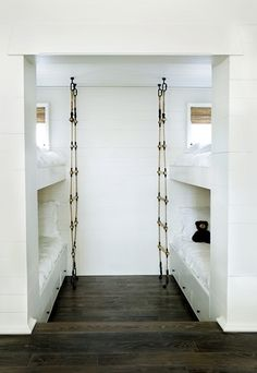 built in bunk beds with rope ladder