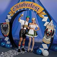 Our #Oktoberfest Arch features a blue and white harlequin pattern with stein and shield accents. Each cardboard Oktoberfest Arch measures 8 feet high x 10 feet wide x 1 foot deep.