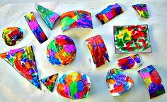 Art activities for kids : Shaving cream drip art from Blog Me Mom