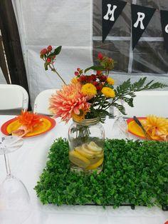 Garden party centerpieces.