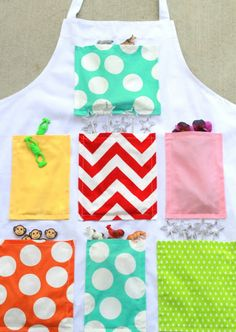 Music apron, put pictures or manipulatives from songs in each pocket. Good idea about gluing then sewing the pockets.