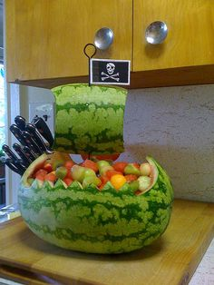 Kelsey and Susan campos! You need this at Bodies shower :) Simple watermelon pirate ship