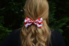 Chevron-hair bow-Red and White,chevron hair Bow, bows for hair, girls Hair bows, fabric bows, Hair Bow for teens and women  Ask a Question on Etsy, $3.99