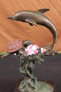 Bronze & Marble Dolphin Sea Turtle Fish Kitchen Nautical Home Decor Sculpture.