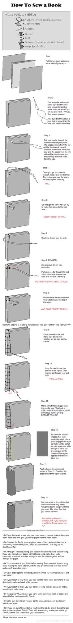 C??mo coser un libro - How to sew a book. DeviantART: More Like uber simple book binding by serealis