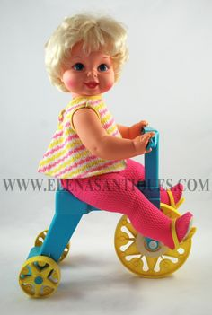 Vintage Mattel Dolls | Vintage 1967 Mattel Tippee Toes Walking Doll/ Tricycle w/ original ...