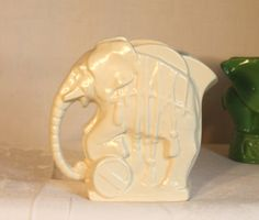 Nelson McCoy white circus elephant pitcher vase by SesameShmuke, $124.90