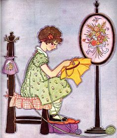 Cute little vintage girl hand sewing