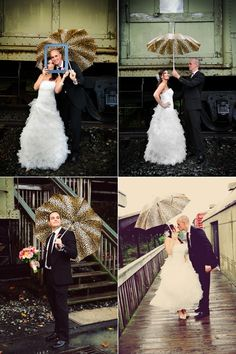 love this couple and their cheetah print umbrella #weddings #rainywedding