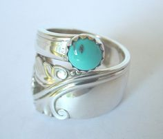 Sterling Silver Spoon Ring Ornate Antique  by silveruware on Etsy, $59.00