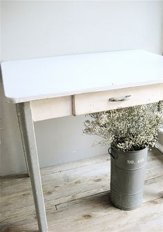 Vintage Enamel Top Table.