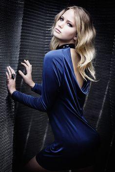 Jennifer Lawrence in an open back slinky dress